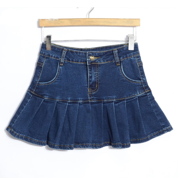 micro mini short skirt 6XL 7XL 8XL plus size jeans skirt women elastic high waist bottom lady female casual pleated denim skirt
