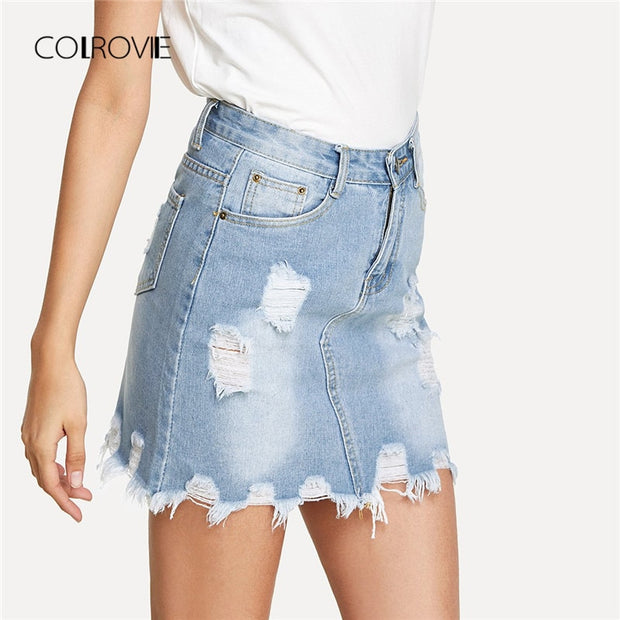 COLROVIE Bleach Wash Ripped Mini Denim Skirt 2018 Summer New Sheath Women Skirt Basic Pocket Jeans Skirt High Waist Casual Skirt