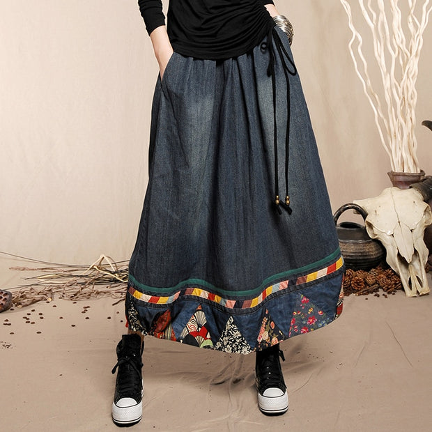 Free Shipping 2018 Fashion Chinese Style Long Maxi A-line Elastic Waist Plus Size Floral Print Denim Jeans Women Patchwork Skirt