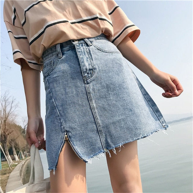 Hzirip Hot Denim Skirt Women 2018 Summer High Waist Short Hole Jeans Skirt Irregular Sexy Individualit Skirts Womens Vintage