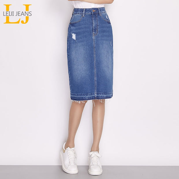 LEIJIJEANS 2018 New Arrival Plus Size denim skirt  Fashion casual women long skirt autumn women skirt for L-6XL Two distinctive