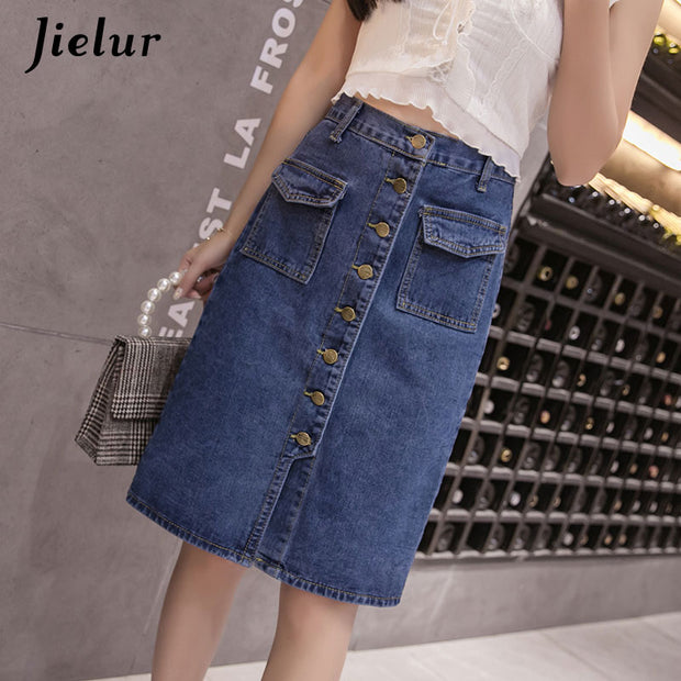 Jielur Korean Fashion High Waist Skirt Plus Size Buttons Pockets Classic Jeans Skirt for Women S-5XL Elegant Jupe Femme Dropship