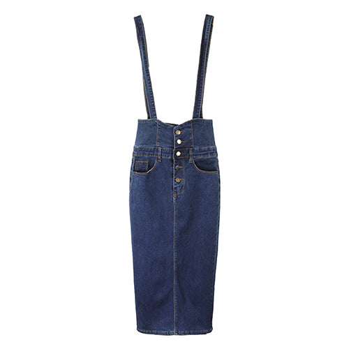 07145ad207634 Streamgirl Long Denim Skirt With Straps Women Button Jeans Skirts Plus Size  Long High Waist Skirt