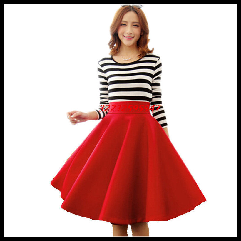In The Autumn And Winter Grown Place Umbrella Skirt Retro Waisted Body