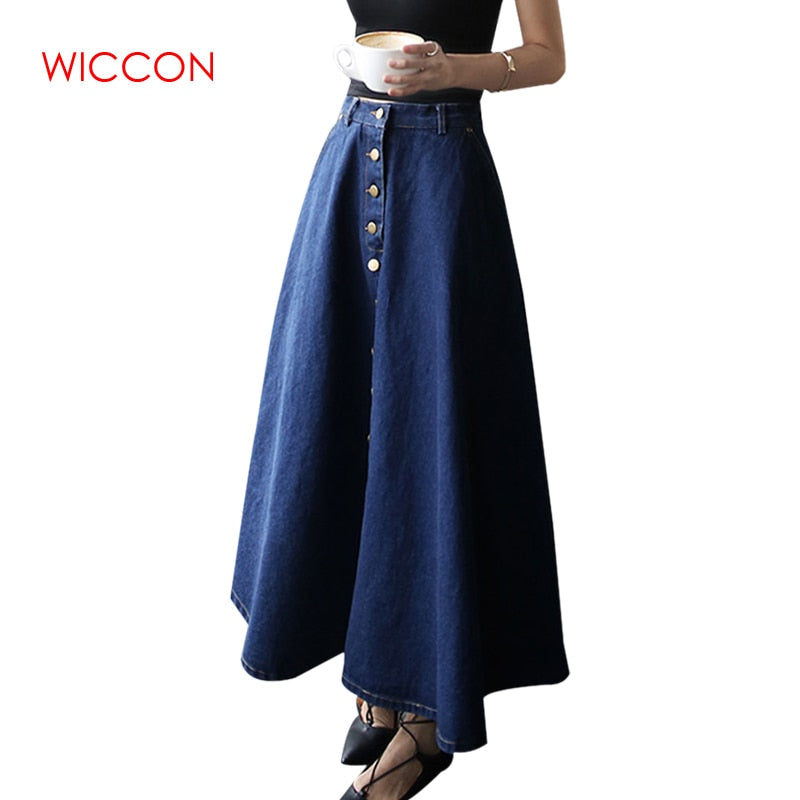 New Fashion Clothes Korean PreppyStyle Denim Skirt Women Solid Long Skirt High Waist Feminina Casual Vintage Button Jeans Skirts
