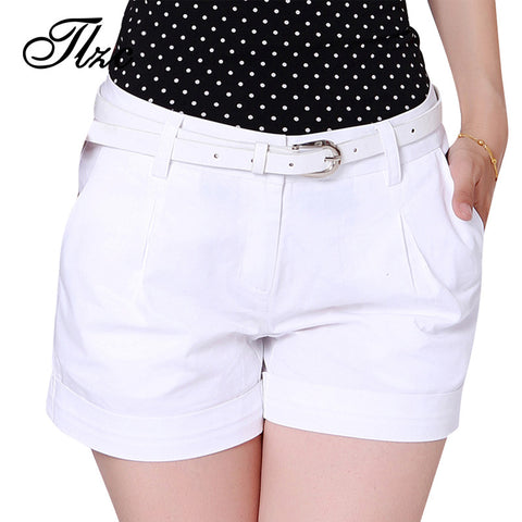 TLZC Korea Summer Woman Cotton Shorts Size S-2XL New Fashion Design Lady Casual Short Trousers Solid Color Khaki / White