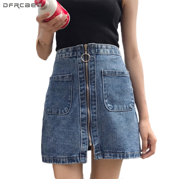 Chic High Waist Ladies Faldas Casual Plus Size Denim Skirts Women 2018 Summer Mini Short Skirt Pockets Zipper Vintage Saia Jeans