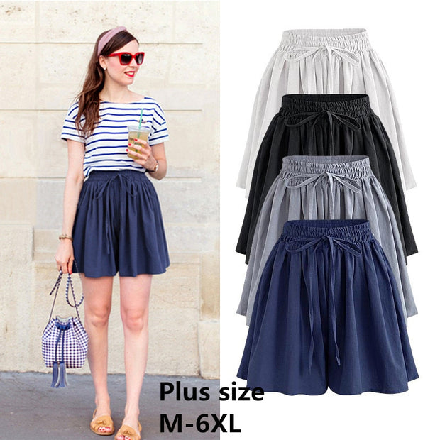 Summer Wide Leg Shorts Women Casual Loose High waist Female Short pants Plus size M-6XL