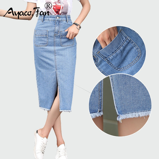 New 2018 Spring Summer Package Hip Skirt Slit Jeans Skirts Women Step Denim Skirt Slim Female Lady Waist Skirts Long skirts