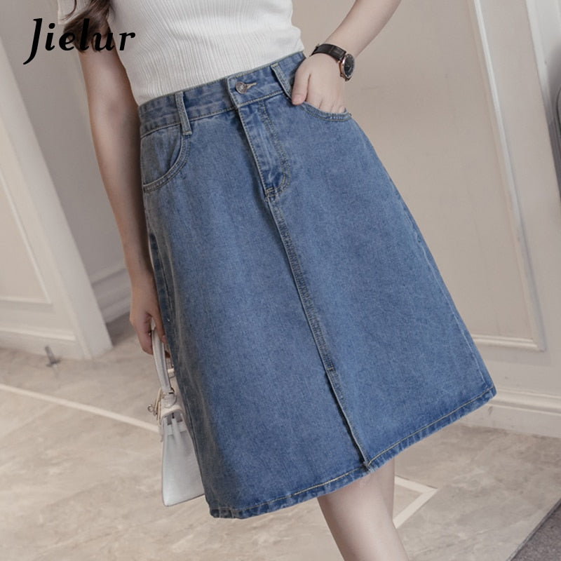 Jielur 2018 Kpop Oversized Summer Female A-line Skirts Solid Color Sweet Blue Denim Skirt Women Hipster Split Jeans Saias S-5XL