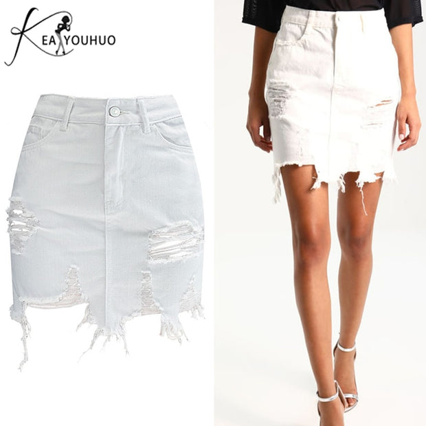 2018 Summer Female Bodycon Skirts For Womens Pencil Denim High Waist Ripped Jeans Woman Tassel Black Skirt White Jeans Trousers