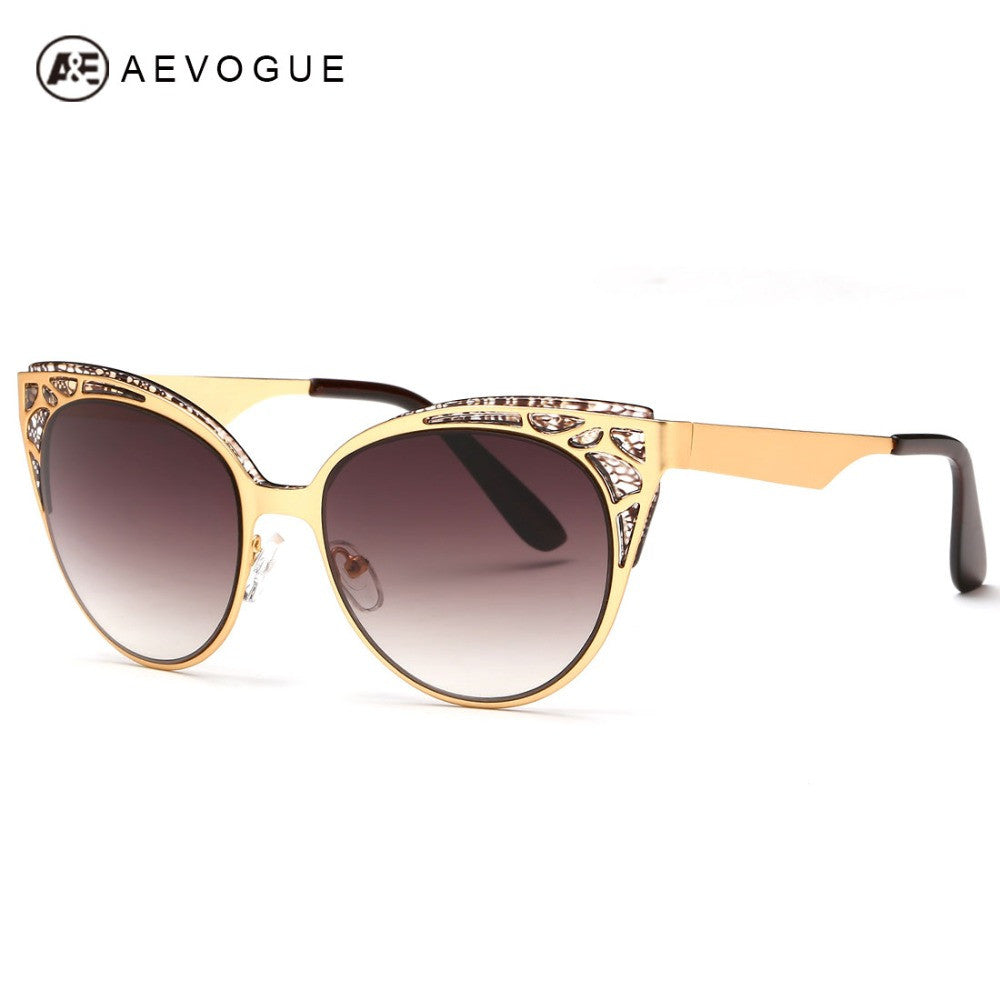 AEVOGUE Brand Design Cat Eye Sunglasses Women High Quality Metal Frame