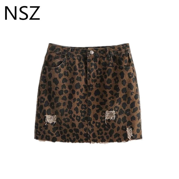 NSZ Women Animal Leopard Print Mini Jeans Skirt Sexy Vintage Denim Straight Hole Front and Back Pockets Short Skirt