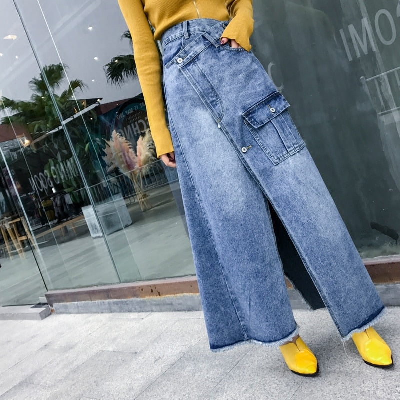 Free Shipping 2018 New Fashion High Waist Long Maxi A-line S-L Denim Jeans Spring And Summer Women Skirt With Slit Irregular