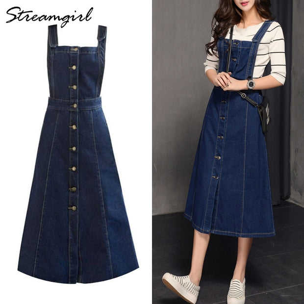 Streamgirl Jeans Skirt With Straps Women Denim Skirts Womens Long Plus Size Winter Women's Skirts Jeans Button Skirt Strap 2018