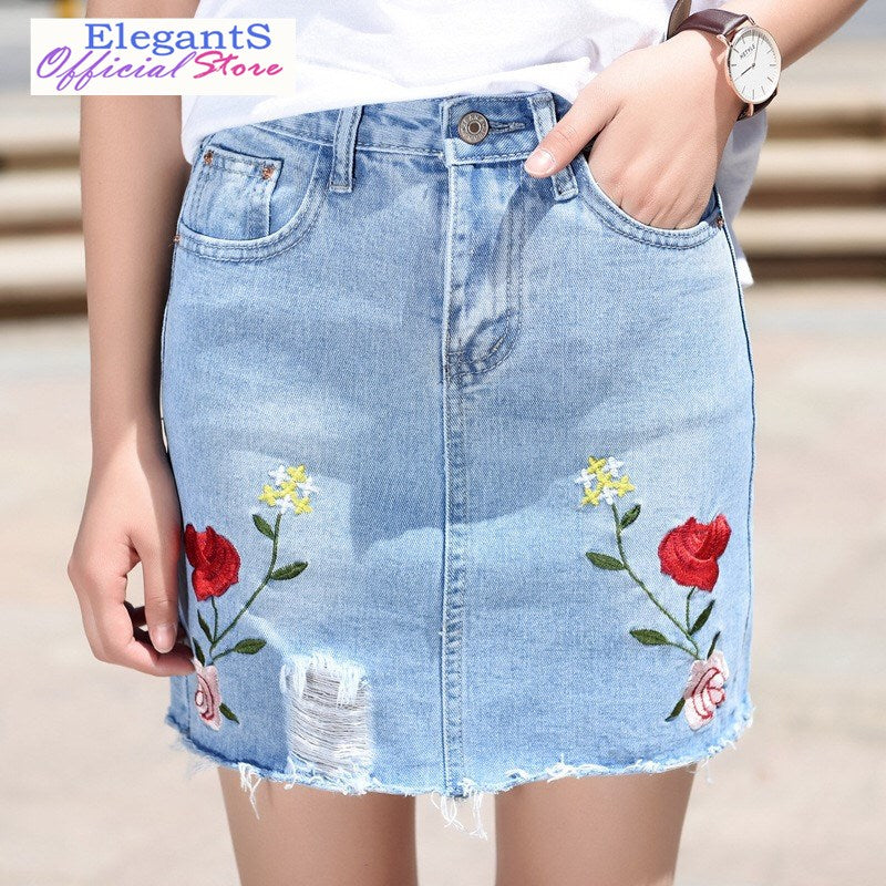 2018 Summer Denim Skirts Women Girl Vintage Mini Jeans Skirt Sexy Embroidery Casual Rip Hole Rose Floral Empire Female Clothing