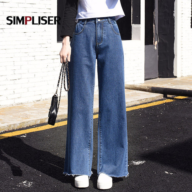 Woman Jeans High Street Wide Leg Pants Loose Chic Baggy Boyfriend Jeans For Women 2019 Harajuku Denim Pants Mom Jeans Big Size