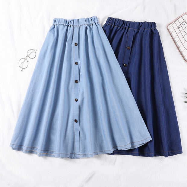 Denim Button College A line Women's Midi Skirt Blue Elastic Waist Students 2018 Summer Autumn Womens Jeans Skirts Plus Size XXXL