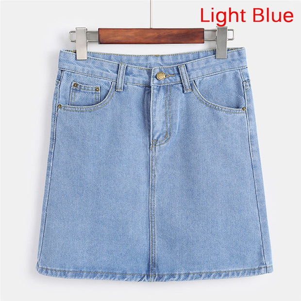 Elastic Waist Summer Women Denim Skirt with Pockets Sexy White High waist jeans Skirts A-line Casual Ruffles Female