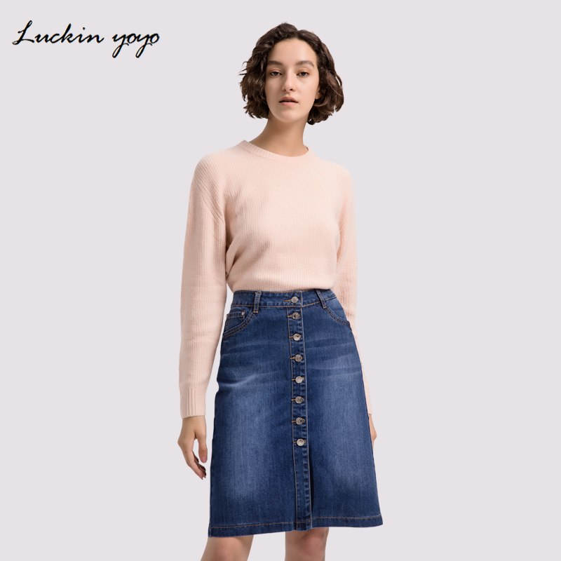 Lukin yoyo Extra Plus Size 42 9XL Women Jeans Skirts Button Up Denim Skirt Casual Large Plus Size Feminino Women Clothing