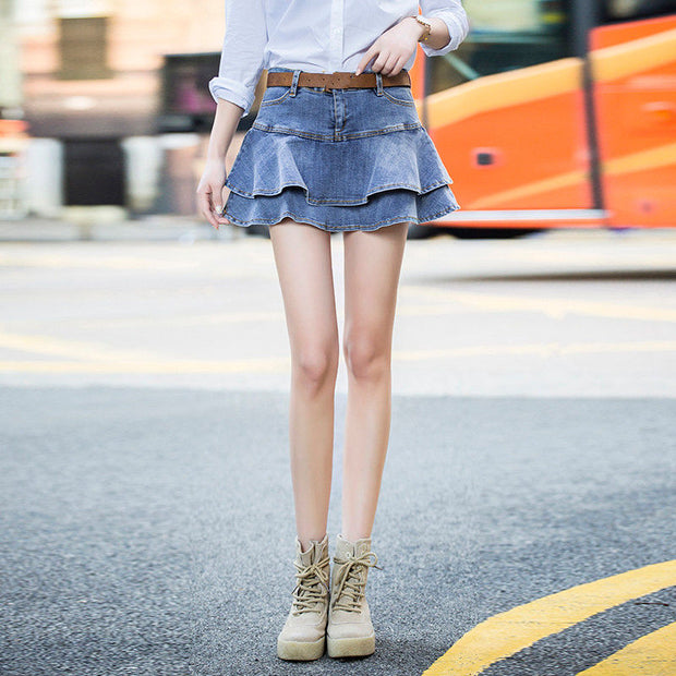 Summer Mini Jeans Skirt Women Sexy High Waist Shorts Pleated Skirts Plus Size Fashion Casual Lady Denim Skirts Faldas Mujer Q125