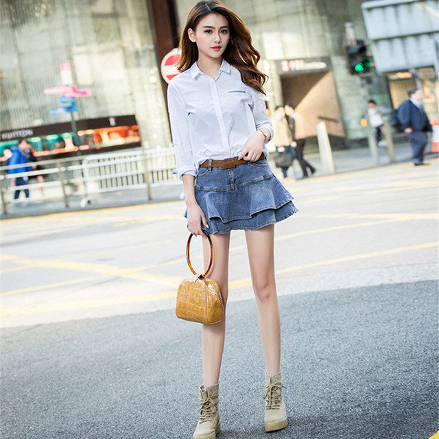 bf404a33e69 Summer Mini Jeans Skirt Women Sexy High Waist Shorts Pleated Skirts Plus  Size Fashion Casual Lady