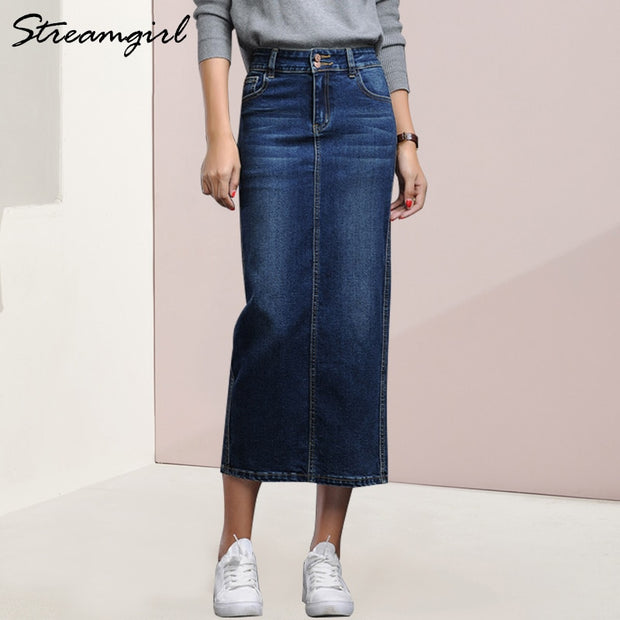 Streamgirl Denim Long Skirt Winter Black Pencil Long Jeans Skirt Women Button Skirts Form Women Autumn Denim Skirts Maxi