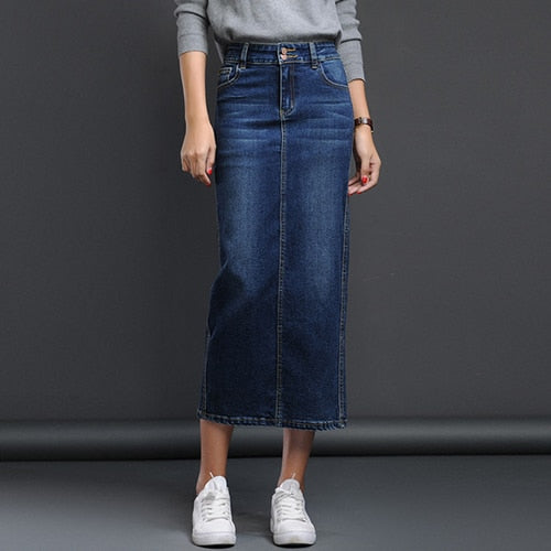 f2cee30b7e34 Streamgirl Denim Long Skirt Winter Black Pencil Long Jeans Skirt Women  Button Skirts Form Women Autumn