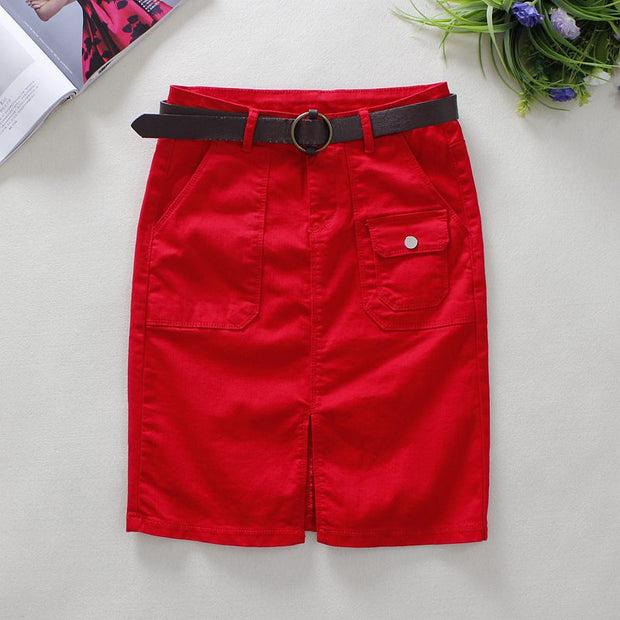 2018 Summer Red Jeans Skirts Womens Big Pockets Knee-Length Skirts England Style Empire Straight Solid Shorts Denim Skirts 2361