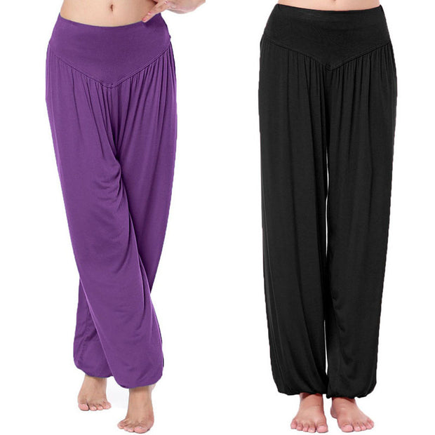 Hot Sale Women Long Pants Harem Youga Modal Dancing Trouses Wide Belly