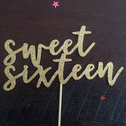 Sweet 16 Gold Glitter Birthday Cake Topper