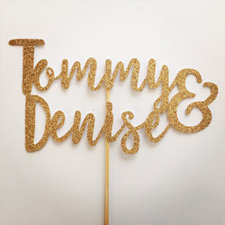 Wedding Cake Topper - Gold Glitter