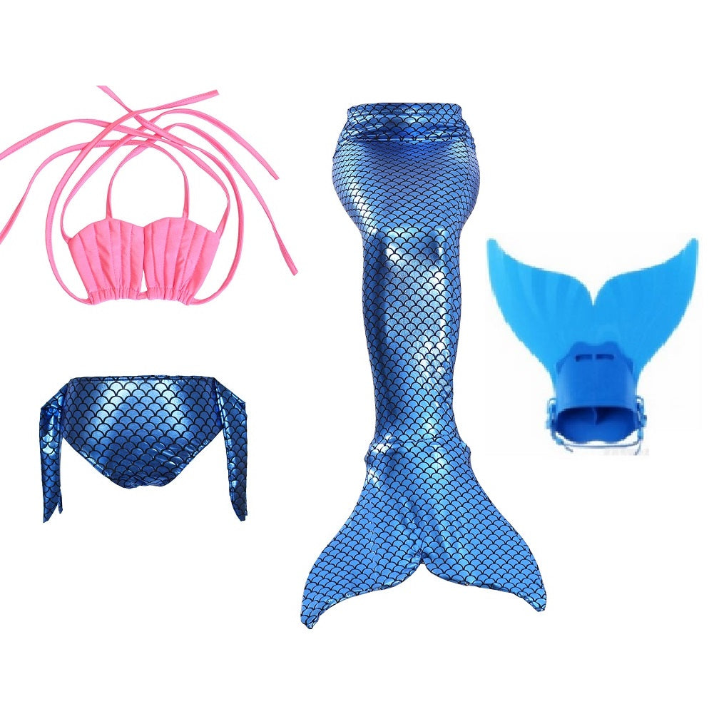 pink blue girls swimmable mermaid tails kids tail with for swimming costume monofin child swimwear children swimsuit kid 4B