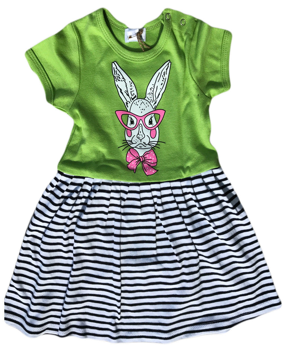 Noah's Ark Mrs Bunner Dress Greenery Striped