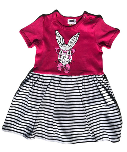 Noah's Ark Mrs Bunny Dress Bright Pink Striped