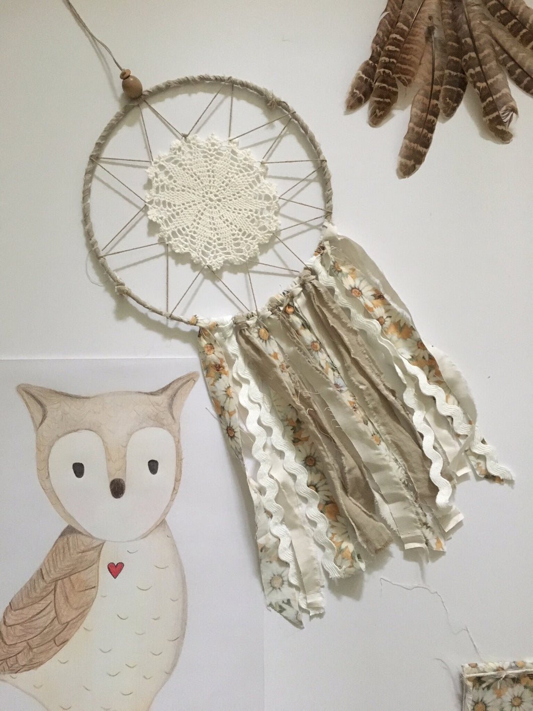 Handcrafted by Brooke Dream Catcher Short Owl