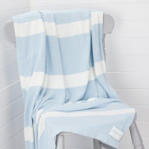 The Stripy Company Blue & White Large Cotton Children's Blanket