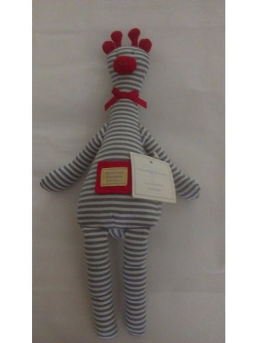 Alimrose Giraffe Rattle - Blue/White Stripe