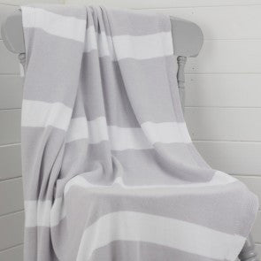 The Stripy Company Grey & White Large Cotton Children's Blanket