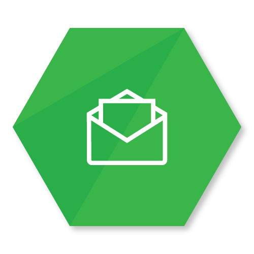 icon representing an envelope with a letter in it