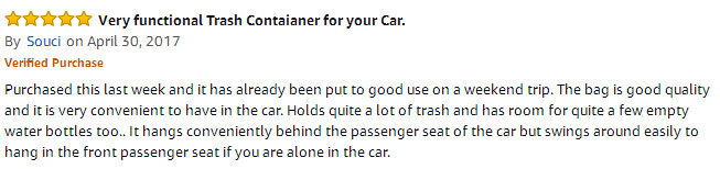 Car Trash Bag - Amazon review 2