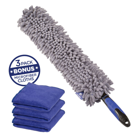 Car Duster with Bonus Microfiber Cloth 3-pack