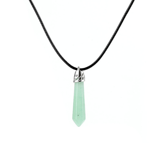 (Solar Plexus) White and (Heart) Teal Chakra Healing Gem Necklace