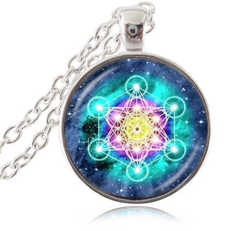 The Art of Sacred Geometry : Metatron Cubes - Pendant and Necklace : Dexterity Blue (Silver Band)
