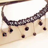 Laced Rejuvenation Black Bead Choker