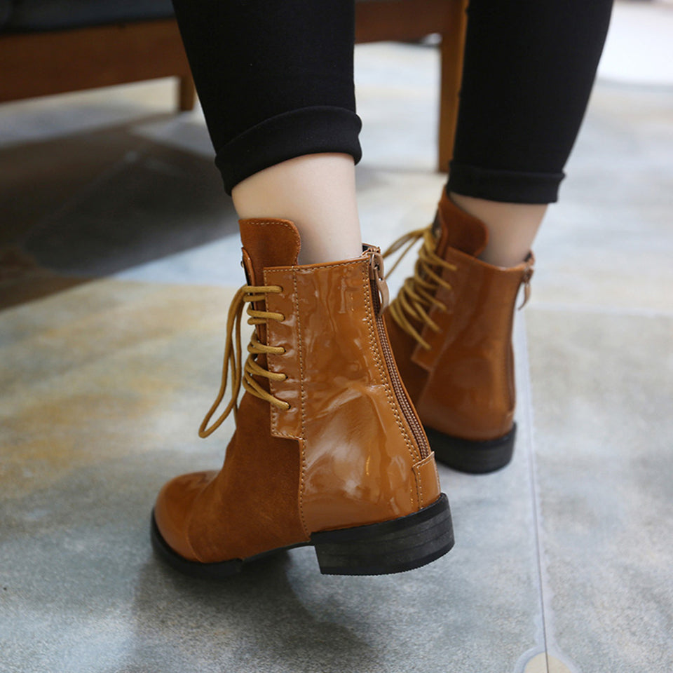 7ef6e9d541c1c Upper Material: Genuine Leather Boot Height: Ankle Closure Type: Lace-Up  Heel Height: Low (1cm-3cm) Model Number: Ankle boots. Insole Material: Short  Plush