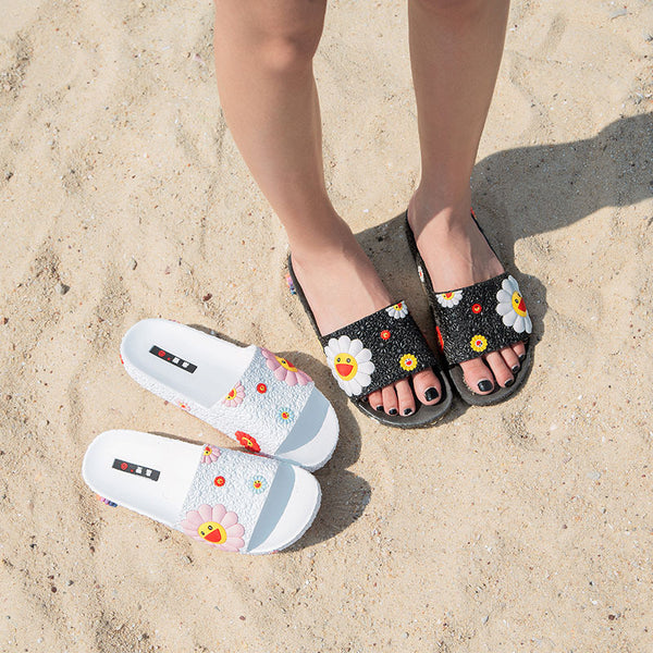 2020 Cute Casual Sunflower Bling Soft Beach Slippers