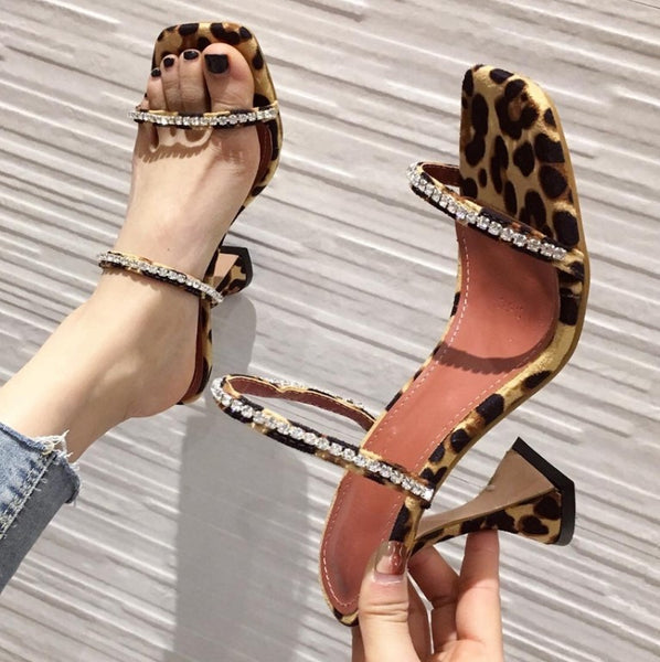 2020 Sexy Leopard Diamond Crystal Wine Cup High Heels Slippers