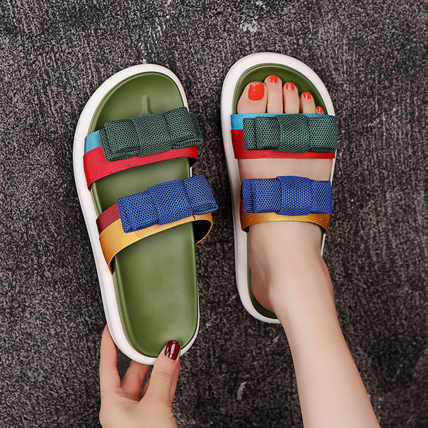2020 Women's Bows Mixed Color Sandals Thick Soled Sport Slippers