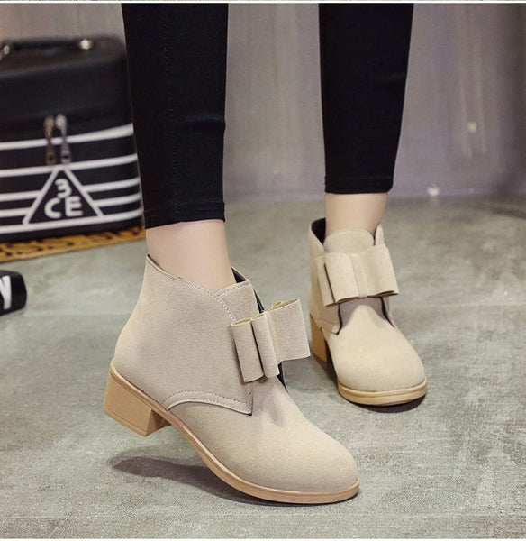 Shoes-2017 autumn and winter women's fashion scrub soft leather low-heeled shoes
